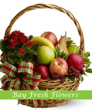Christmas fruit basket with apples and pears