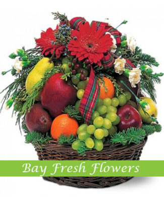 Christmas fruit gift basket with gerbers