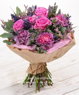 Bouquet of pink roses and eucalyptus