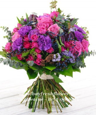 Bouquet of carnations and eucalyptus