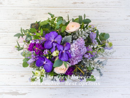 Bouquet of roses, orchids, hydrangea