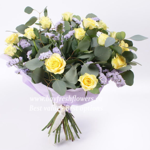 Bouquet of yellow roses and eucalyptus
