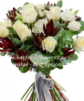 Bouquet of white roses, leucadendron