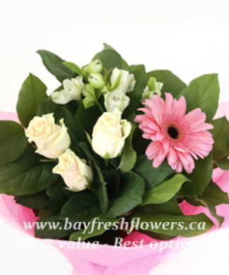 bouquet of fresh flowers with roses and gerbers