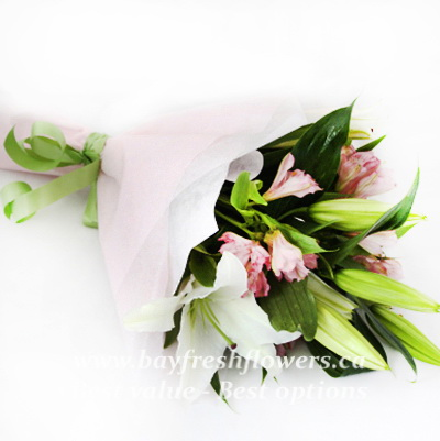bouquet of fresh flowers with lilies and alstroemeria