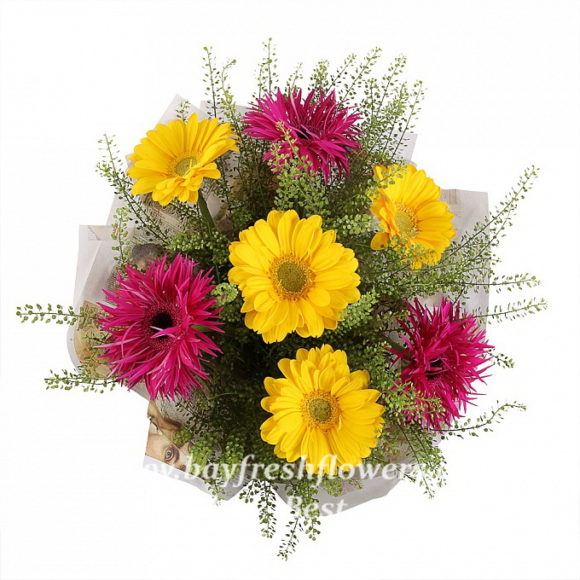 bouquet of fresh flowers of pink and yellow gerbers