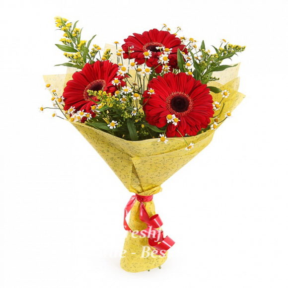 bouquet of fresh flowes with red gerbers and chamomile
