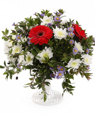 bouquet of asters, gerbers and chrysantemum