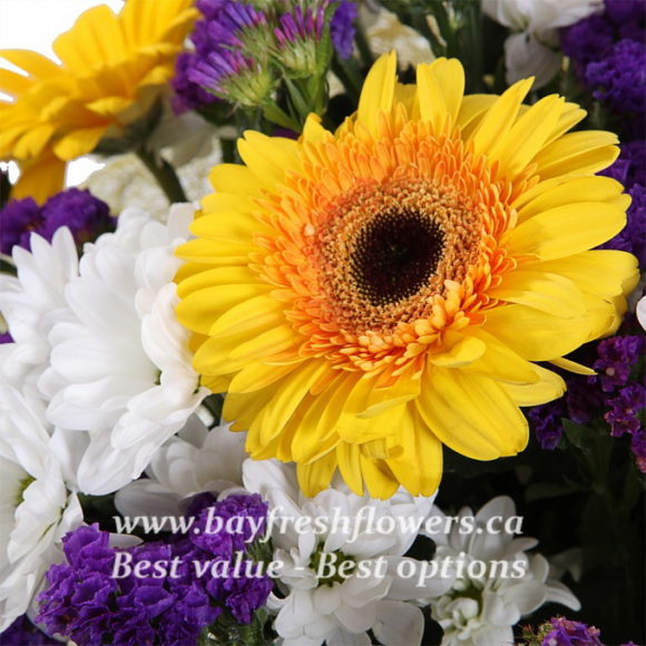 bouquet of white chrysantemum and yellow gerbers