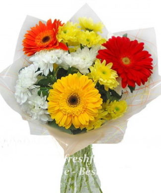 bouquet of fresh flowers with gerbers and chrysantemum