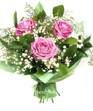 bouquet of fresh flowers with pink roses