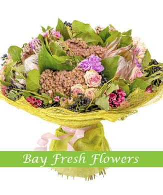exotic flowers bouquet of roses, bouvardia, carnations
