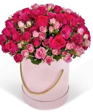 27002 Rose Garden - Large arrangement with pink roses in a box