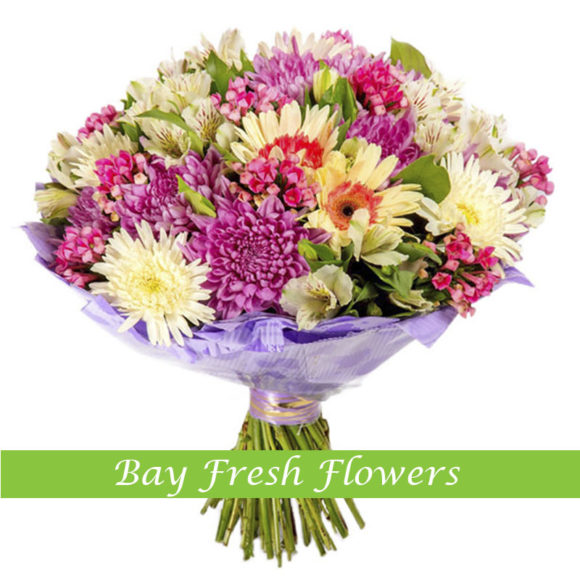 bouquet of withe chrysantemums and mix of gerberas