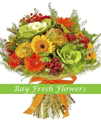 bouquet of yellow and orange gerberas and chrysantemum