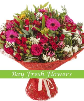 bouquet of pink roses, gerbers and bouvardia