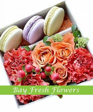 Macaroons, roses and carnations