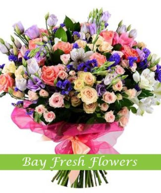 bouquet of pink roses, eustomas and alstroemerias
