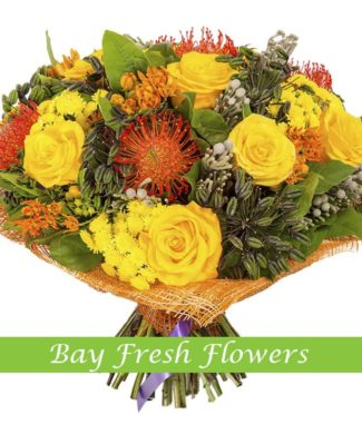 bouquet of yellow roses and chrysantemums