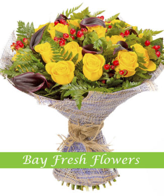 bouquet of yellow roses, brown callas and hypericum