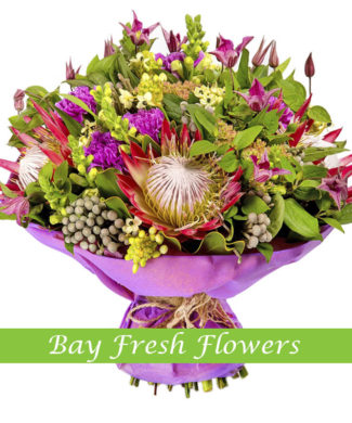 bouquet of carnations, protea and bruneia