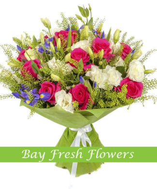 bouquet of pink and white roses and irises