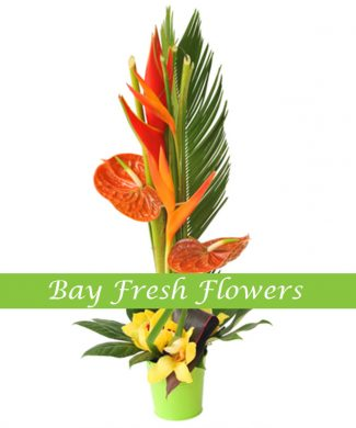 corporate flower arrangement with orange callas