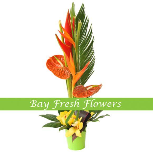 corporate flower arrangement with orange callas