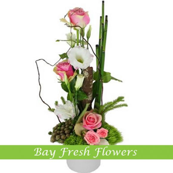 corporate flower arrangement with pink roses