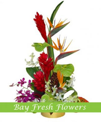 corporate flower arrangement with vriesia, strelizia