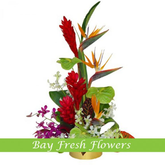 corporate flower arrangement with vriesia, strelizia