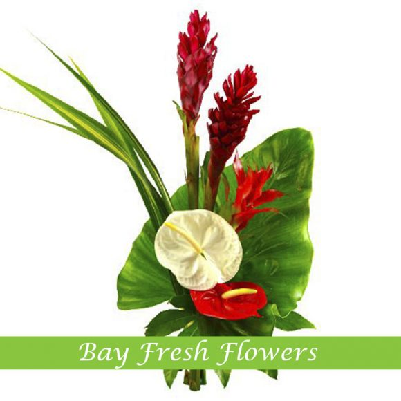 corporate flowers arrangement with red and white anthuriums