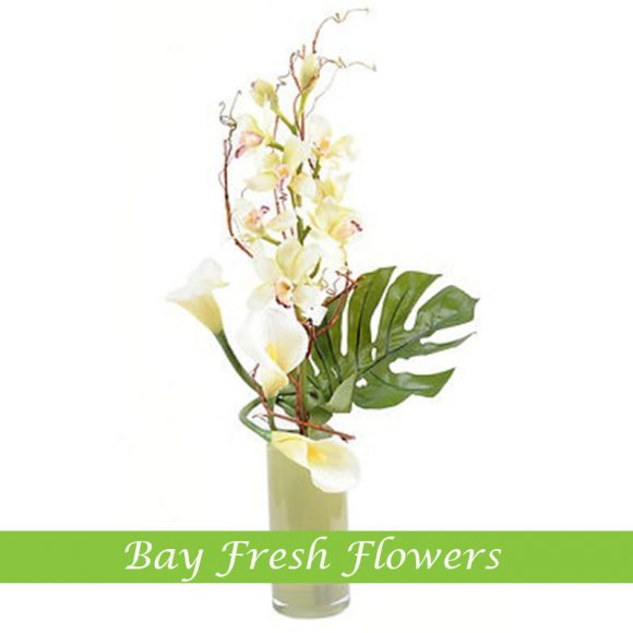 corporate flower arrangement with white orchids