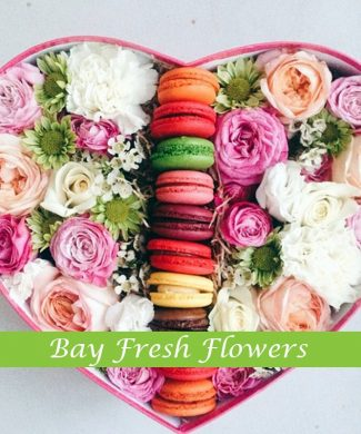 Macaroons and mixed roses