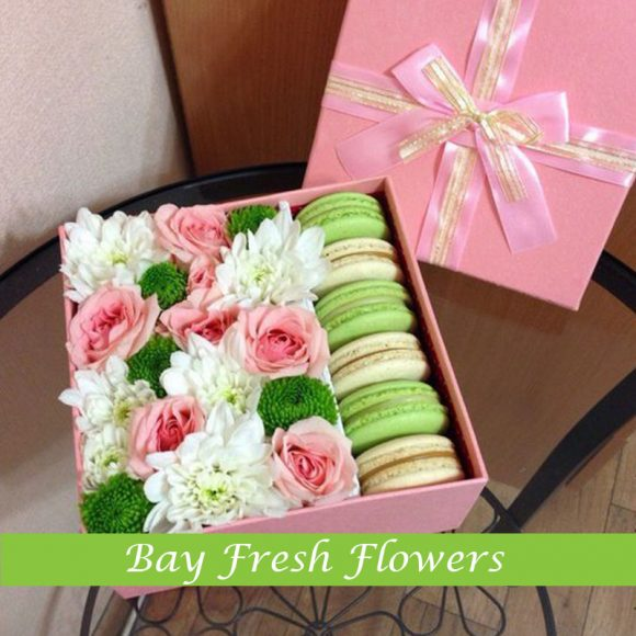pink macaroons and flowers