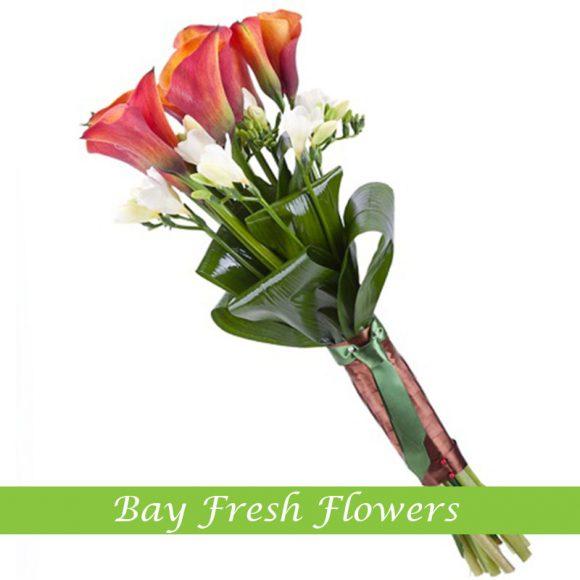 men's bouquet of callas and freesias