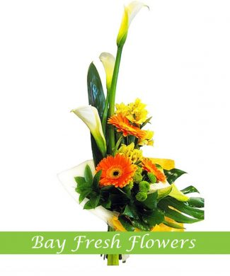 men's bouquet of callas, orchids and gerbera