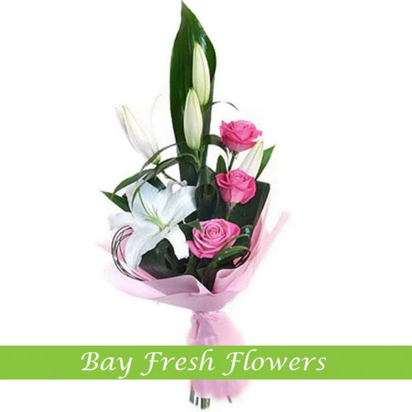 men's bouquet of withe lilies and pink roses