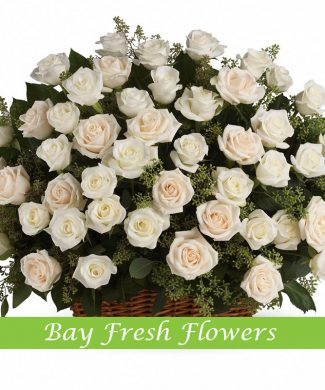 Large sympathy basket of white roses