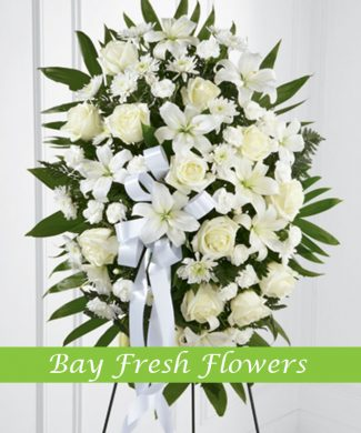 Standing sympathy wreath with lilies