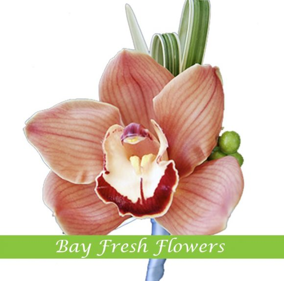 Red orchid groom boutonniere