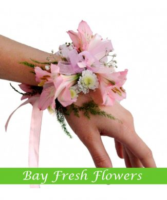 Wedding corsage from pink lilies