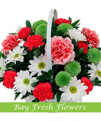 Flowers basket with chrysantemums