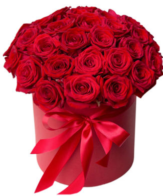 27047 Tender love - 12 to 50 red roses in a hat box