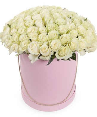 27029 White Swan - Large arrangement with white roses in a box