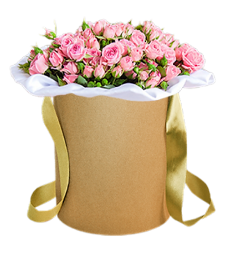 27054 Large arrangement with pink roses in a box