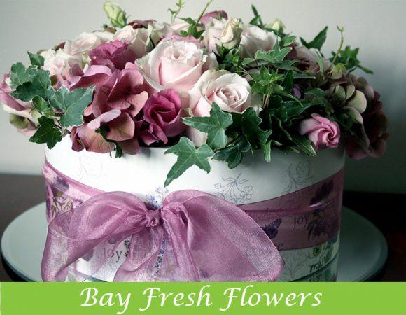 flowers in hat box