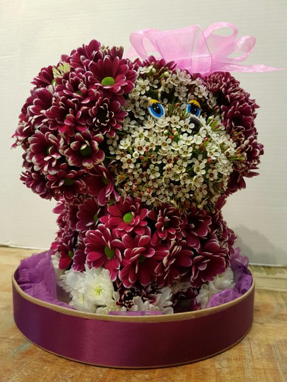dog made of flowers