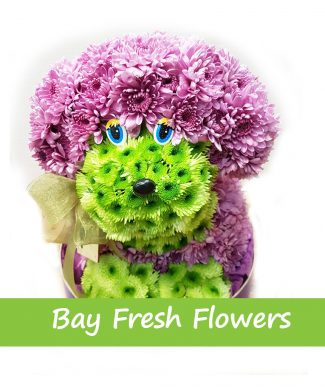 Dog from fresh flowers