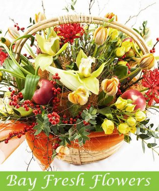 Flowers basket with yellow tulips